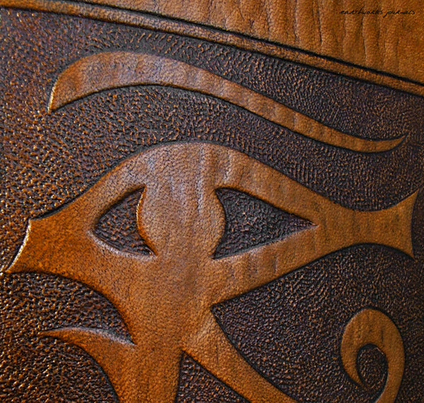 A4 brown leather journal - book of shadows - egyptian eye of horus design detail - earthworks journals A4C007