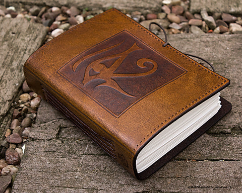 A6 brown leather journal - egyptian eye of horus - earthworks journals - A6C003
