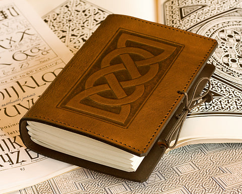 A6 brown leather journal - celtic friendship lovers knot - earthworks journals - A6C013
