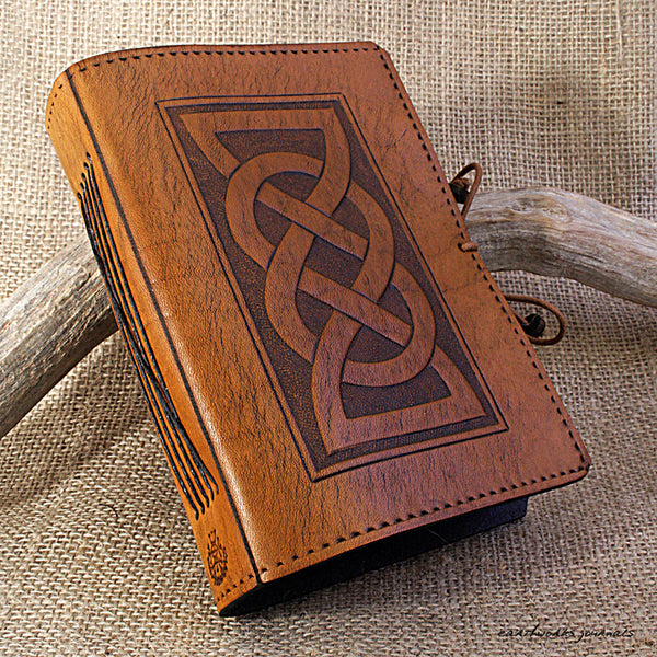 A6 brown leather journal - celtic friendship lovers knot 2 - earthworks journals - A6C013