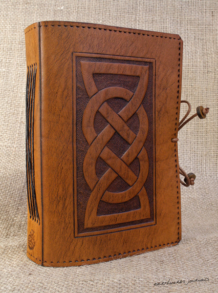 A6 brown leather journal - celtic friendship lovers knot 3 - earthworks journals - A6C013