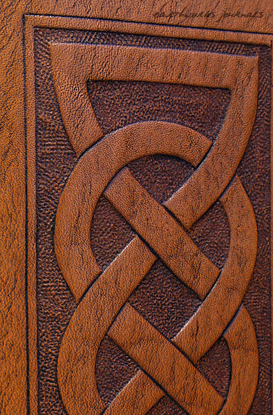 A6 brown leather journal - celtic friendship lovers knot detail - earthworks journals - A6C013