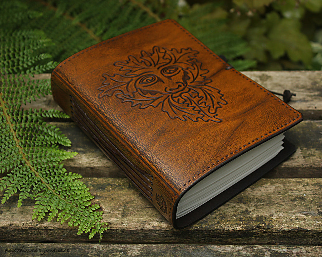 A6 brown leather journal - green man - earthworks journals - A6C009