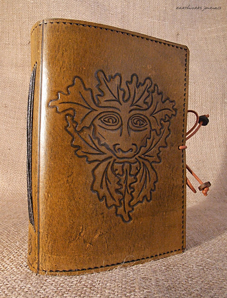 A6 brown leather journal - green man 3 - earthworks journals - A6C009