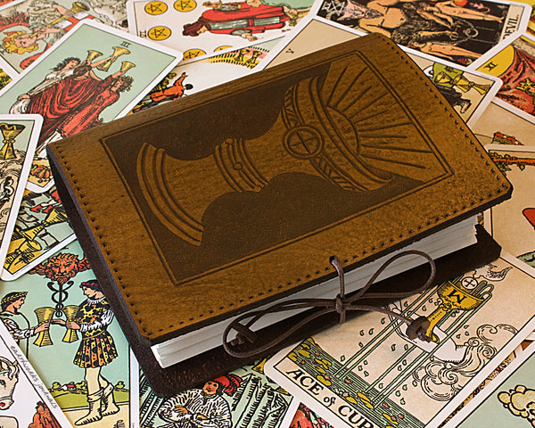 A6 brown leather journal - holy grail - ace of cups - tarot - earthworks journals - A6C005