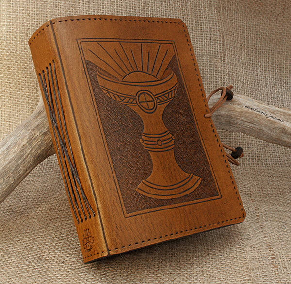 A6 brown leather journal - holy grail 3 - ace of cups - tarot - earthworks journals - A6C005
