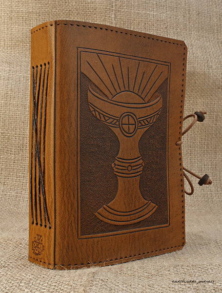 A6 brown leather journal - holy grail 2 - ace of cups - tarot - earthworks journals - A6C005