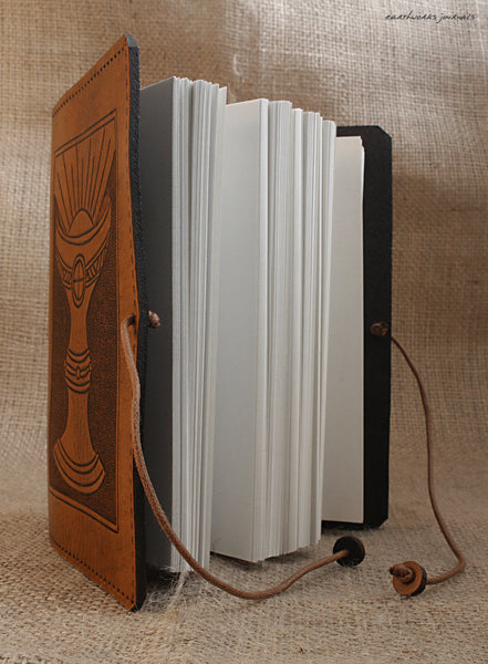 A6 brown leather journal - holy grail open - ace of cups - tarot - earthworks journals - A6C005