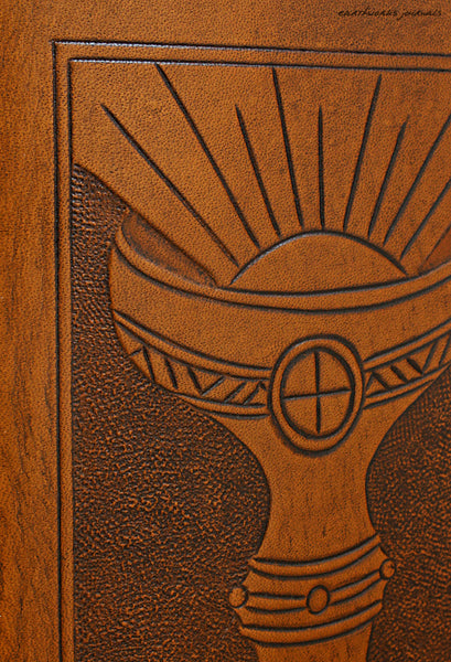 A6 brown leather journal - holy grail detail - ace of cups - tarot - earthworks journals - A6C005