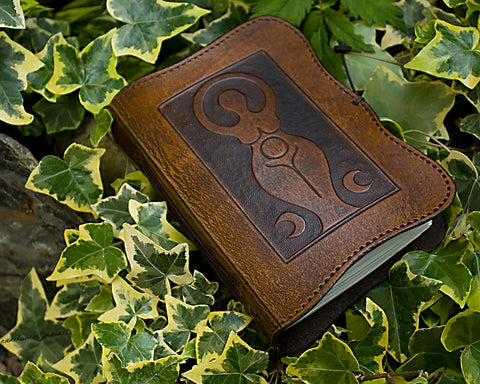 A6 brown leather journal - triple moon goddess - earthworks journals - A6C007