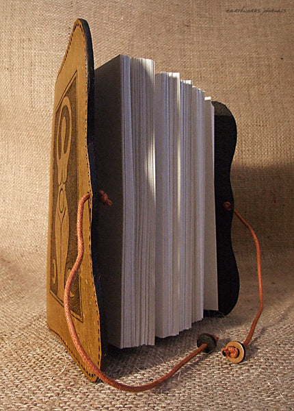 A6 brown leather journal - triple moon goddess open - earthworks journals - A6C007