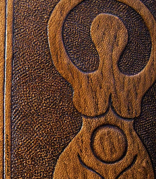 A4 brown leather journal - book of shadows - triple moon goddess design detail - earthworks journals A4C003