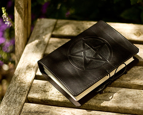 A6 black leather journal - pentagram - earthworks journals - A6C016