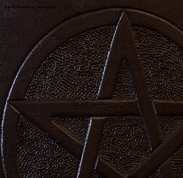 A5 black leather 2 ring binder - book of shadows - grimoire - pentagram design detail - earthworks journals A5B005