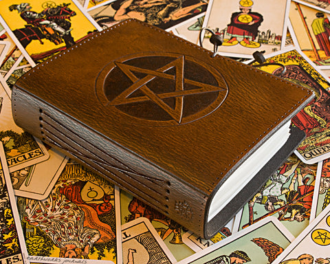 A6 brown leather journal - pentagram - earthworks journals - A6C010
