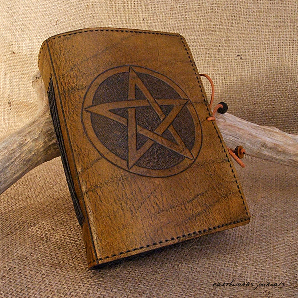 A6 brown leather journal - pentagram 2 - earthworks journals - A6C010