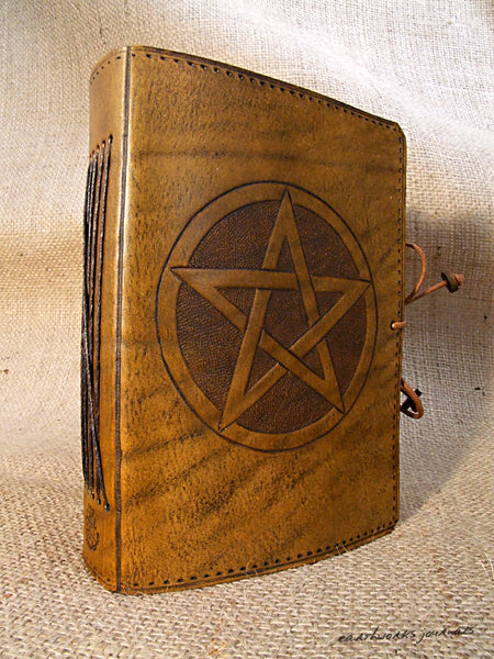 A6 brown leather journal - pentagram 3 - earthworks journals - A6C010