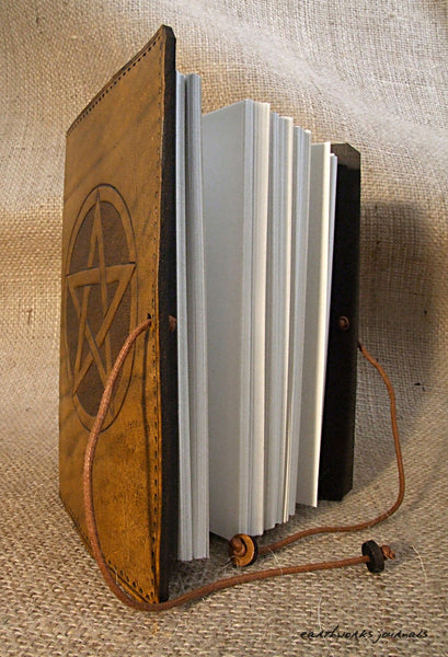 A6 brown leather journal - pentagram open - earthworks journals - A6C010