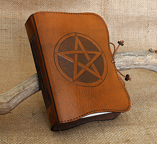 A6 brown leather journal - pentagram - pentacle- book of shadows - earthworks journals - A6C014