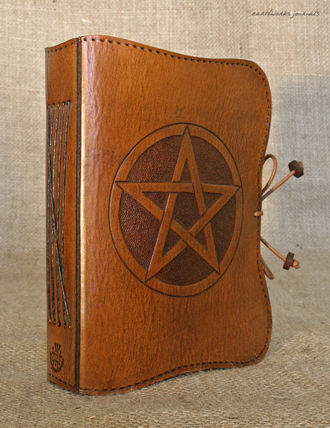 A6 brown leather journal - pentagram - pentacle- book of shadows 2 - earthworks journals - A6C014