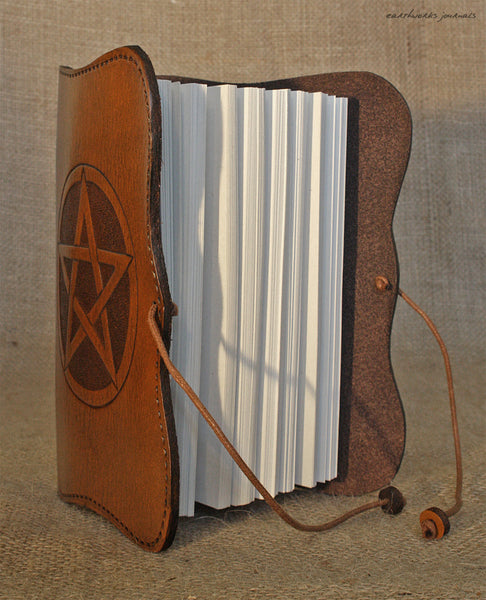 A6 brown leather journal - pentagram - pentacle- book of shadows open - earthworks journals - A6C014