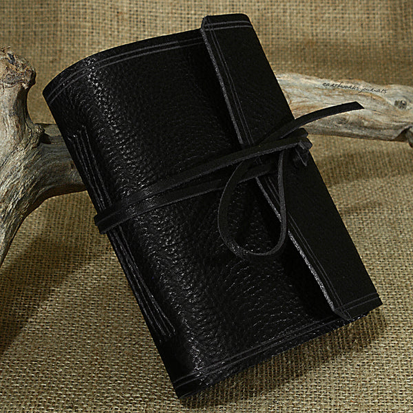 A6 rugged black leather journal - wraparound - earthworks journals - A6W008