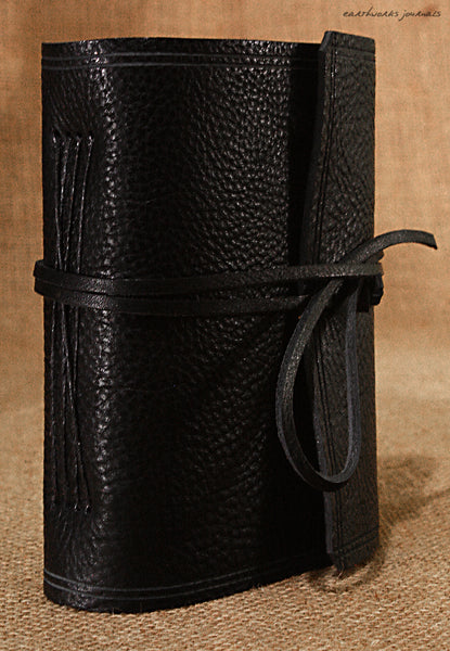 A6 rugged black leather journal - wraparound 2 - earthworks journals - A6W008