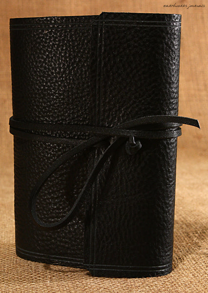 A6 rugged black leather journal - wraparound 3 - earthworks journals - A6W008