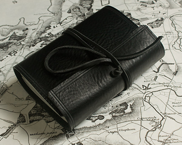 A6 rugged black leather journal 5 - wraparound - earthworks journals - A6W008