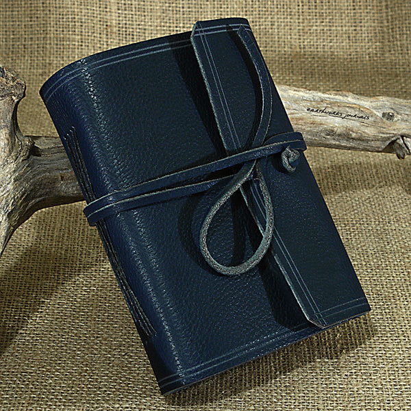 A6 rugged blue leather journal - wraparound 2 - earthworks journals - A6W010