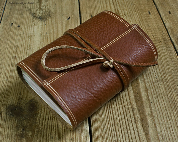 A6 rugged brown leather journal - wraparound 2 - earthworks journals - A6W003
