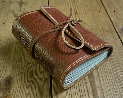 A6 rugged brown leather journal - wraparound - earthworks journals - A6W003