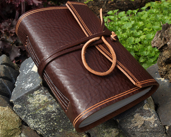 A6 rugged chestnut brown leather journal - wraparound - earthworks journals - A6W007