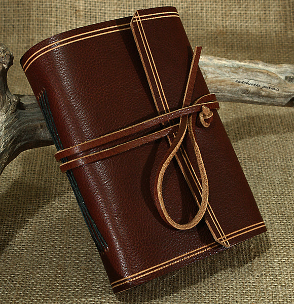 A6 rugged chestnut brown leather journal - wraparound 2 - earthworks journals - A6W007