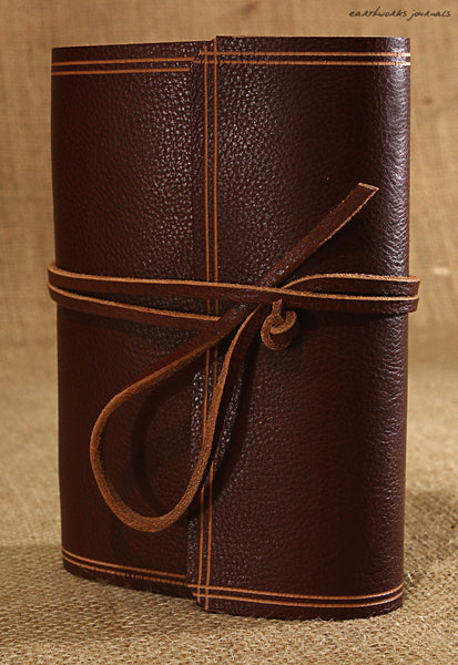 A6 rugged chestnut brown leather journal - wraparound 4 - earthworks journals - A6W007
