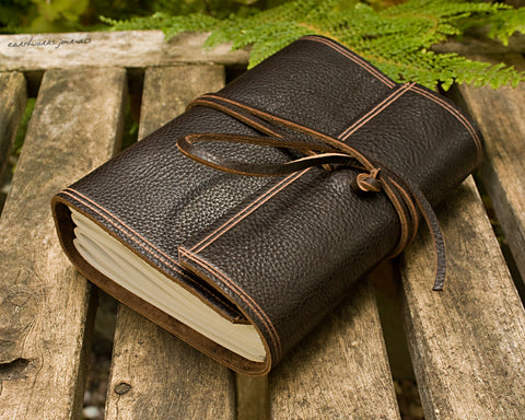 A6 rugged dark brown leather journal - wraparound - earthworks journals - A6W002