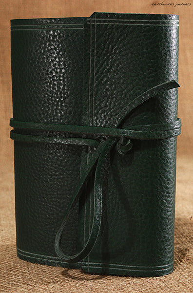 A6 rugged green leather journal - wraparound 3 - earthworks journals - A6W005