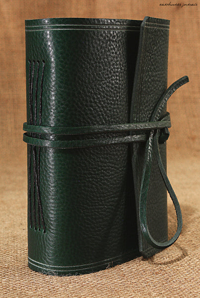 A6 rugged green leather journal - wraparound 2 - earthworks journals - A6W005
