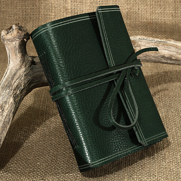 A6 rugged green leather journal - wraparound - earthworks journals - A6W005