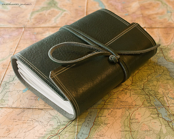 A6 rugged green leather journal - wraparound 5 - earthworks journals - A6W005