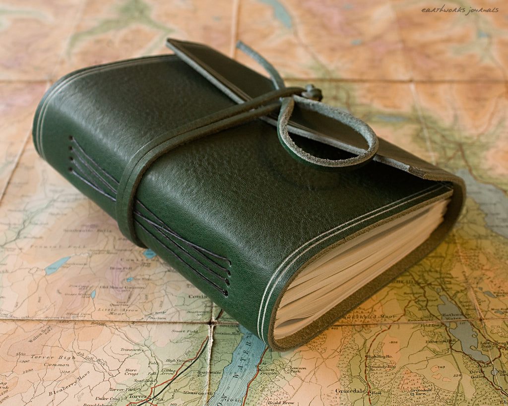 A6 rugged green leather journal - wraparound 4 - earthworks journals - A6W005