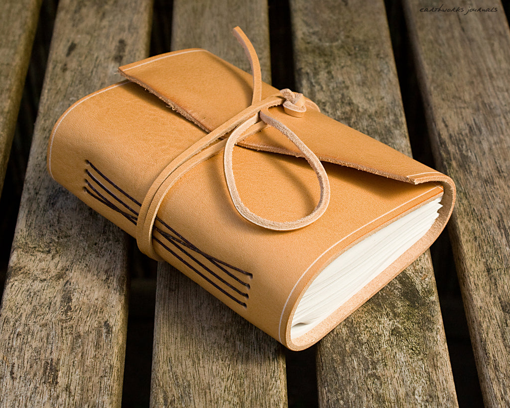 A6 rugged natural leather journal - wraparound - earthworks journals - A6W016