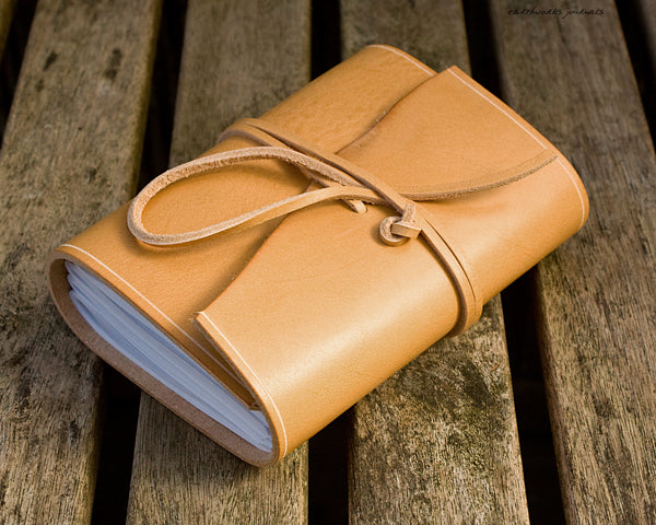 A6 rugged natural leather journal 2 - wraparound - earthworks journals - A6W016