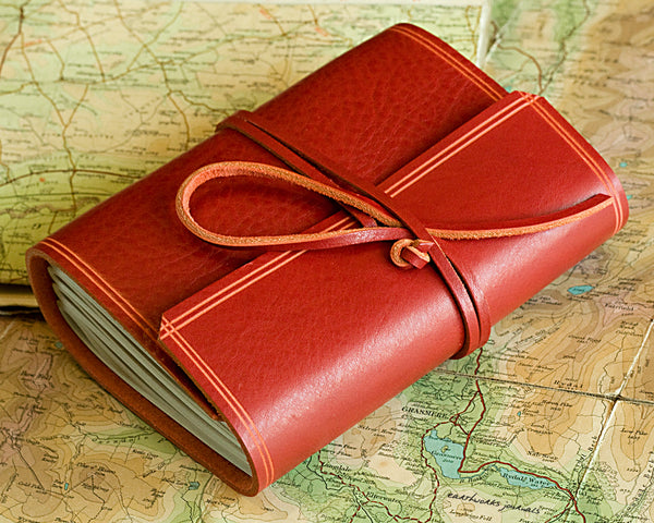 A6 rugged red leather journal - wraparound - earthworks journals - A6W009