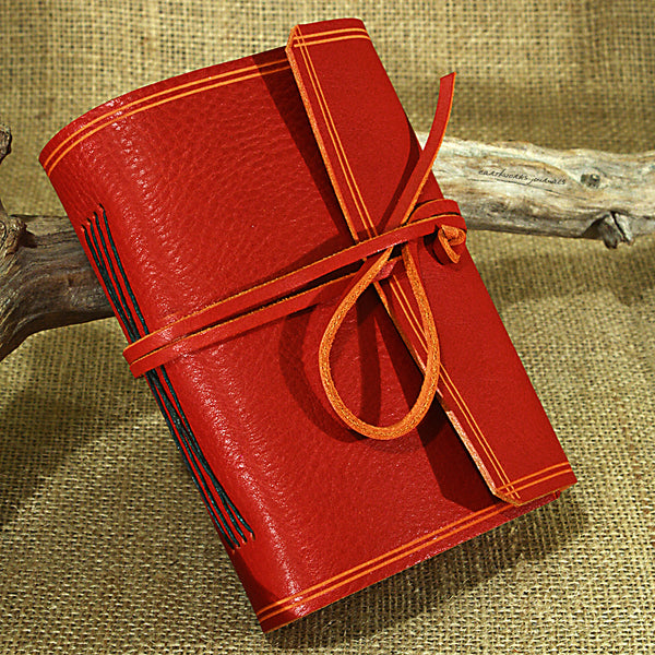 A6 rugged red leather journal - wraparound 3 - earthworks journals - A6W009