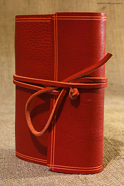 A6 rugged red leather journal - wraparound 4 - earthworks journals - A6W009