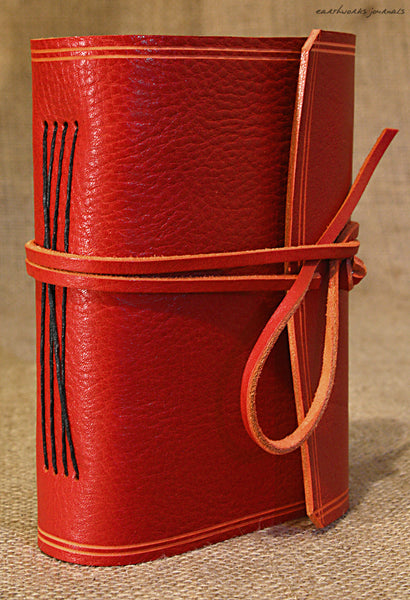 A6 rugged red leather journal - wraparound 2 - earthworks journals - A6W009