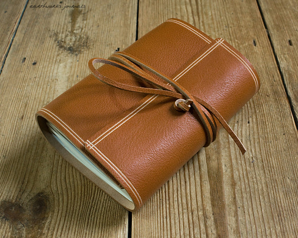 A6 rugged saddle tan leather journal 2 - wraparound - earthworks journals - A6W011