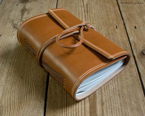 A6 rugged saddle tan leather journal - wraparound - earthworks journals - A6W011