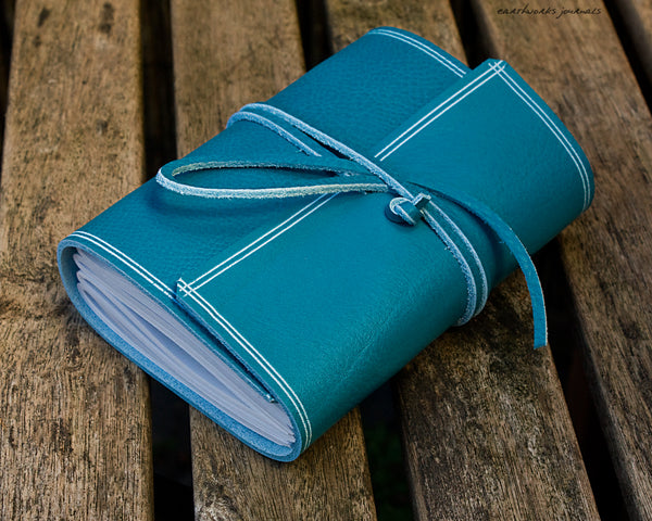 A6 rugged sky blue leather journal 3 - wraparound - earthworks journals - A6W017